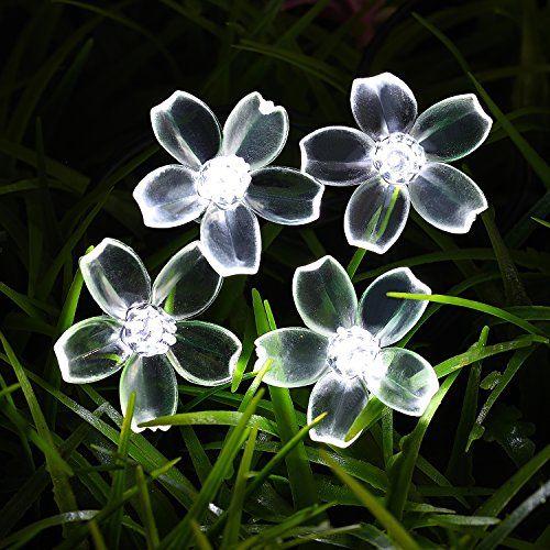 Loende Solar Blossom String Lights, 50 LED 23Ft White Wat…