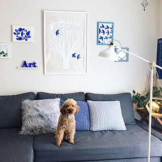 ナフコのクッションカバー ニトリのクッションカバー Ikeaのソファー 自作アート アート などのインテリア実例 2020 02 02 20 36 59 Roomclip ルームクリップ 2020 インテリア インテリア 実例 ナフコ