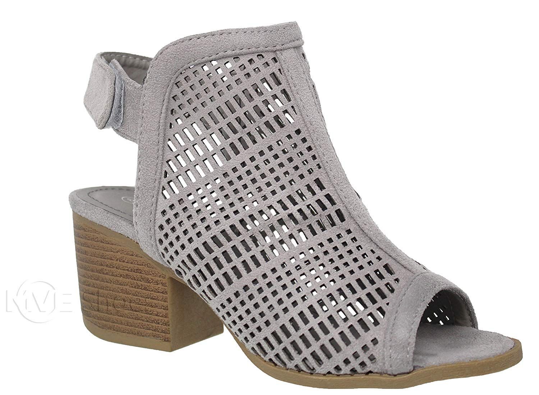 1272d3c1c8e7f Amazon.com | MVE Shoes Women's Velcro Open Toe-Ankle Low Heeled ...