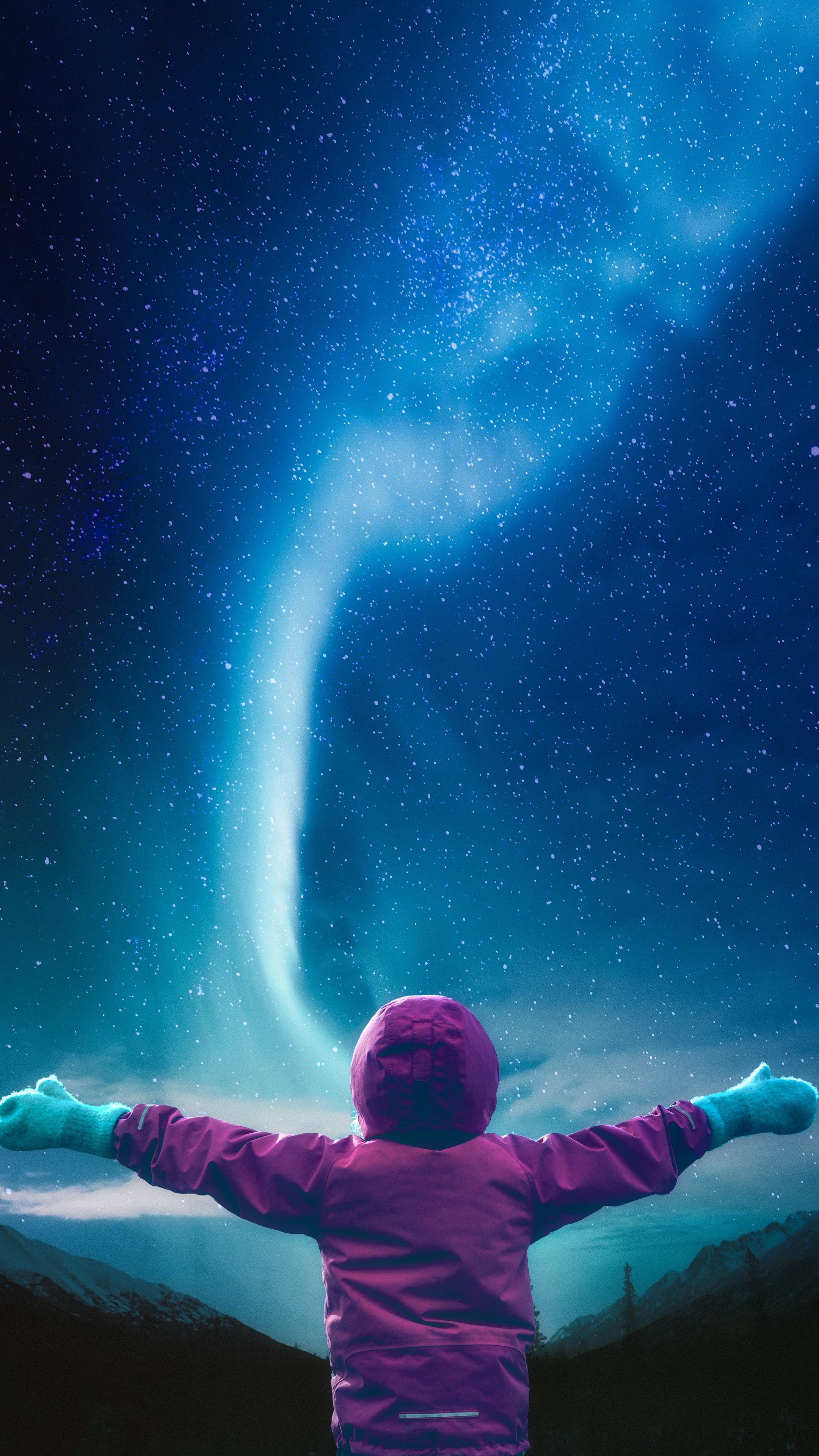 Nature starry sky, child, space android wallpapers 4k