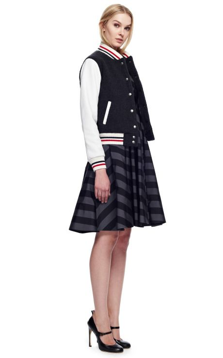 Letterman Jacket In Cashmere Boucle by Thom Browne for Preorder on Moda Operandi