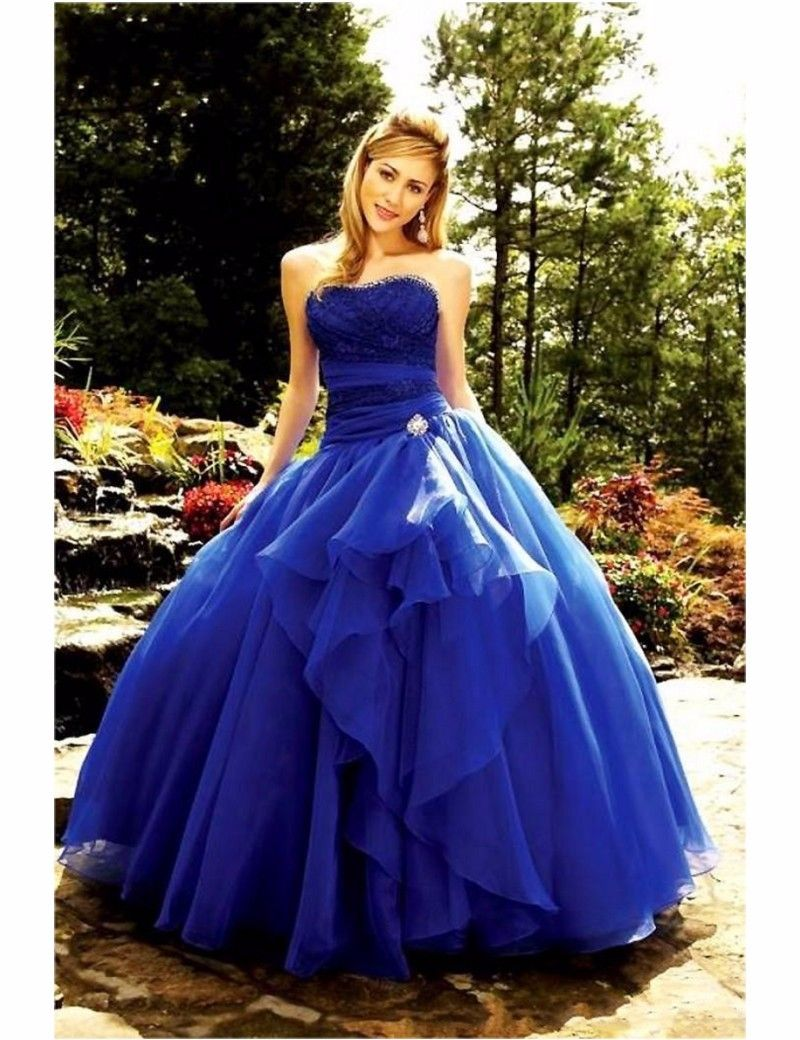 Click to buy ucuc royal blue ball gown prom dresses sweetheart