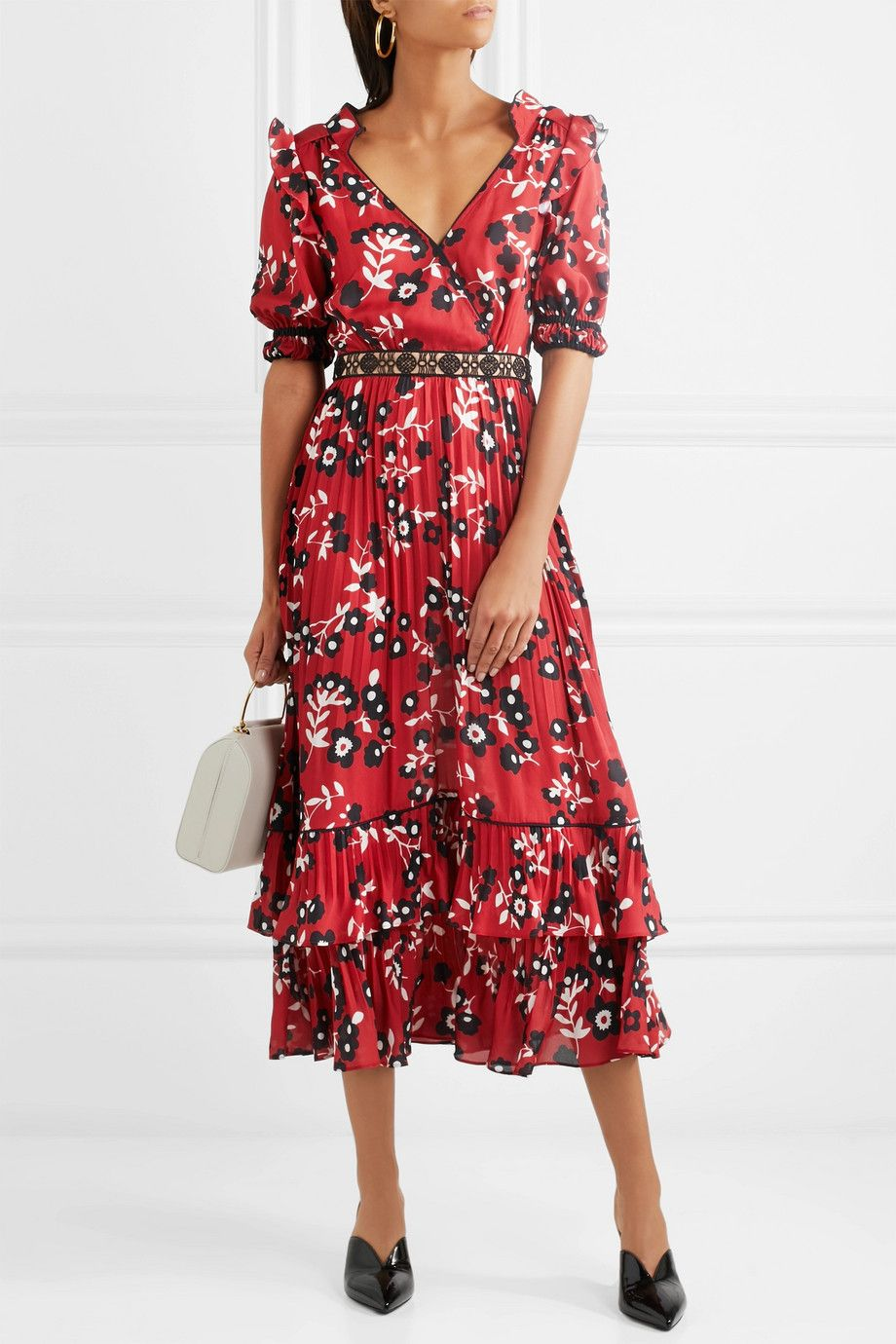 Self-Portrait - Guipure lace-trimmed floral-print crepe de chine dress