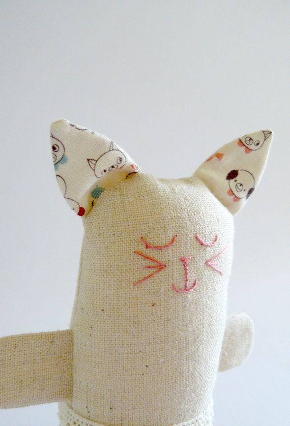 Eco Soft Toy Cat Zakka Style Kitten By Edwardandlilly On Etsy