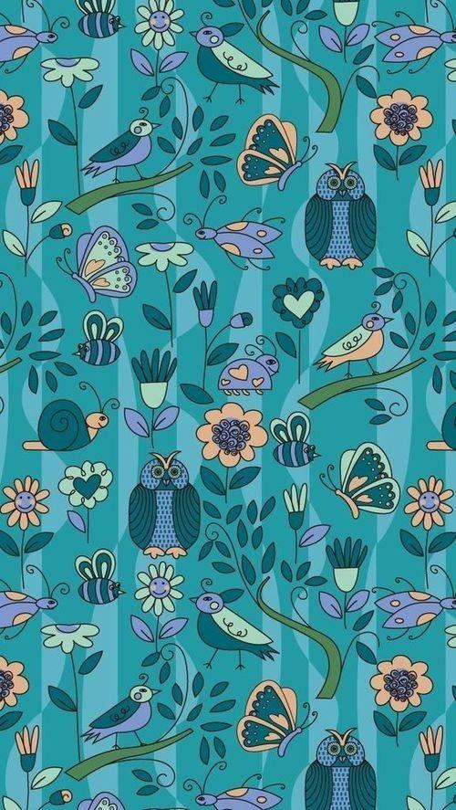 American Hippie Bohemian Pattern Design Wallpaper IPhone Blue Owls Butterflies Bees