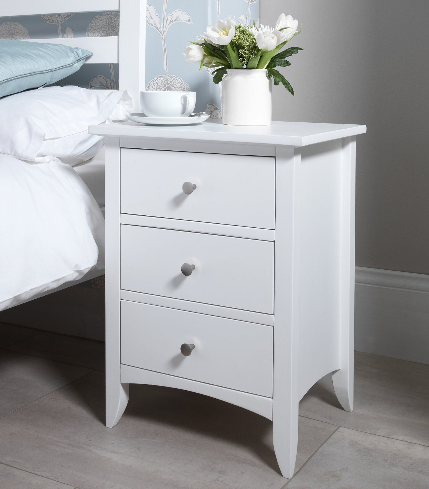 Edward Hopper white bedside table with 9 drawers, metal runners