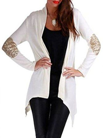 Persun Women Patch Elbow Sequin Detail Long Sleeve Waterfall ...