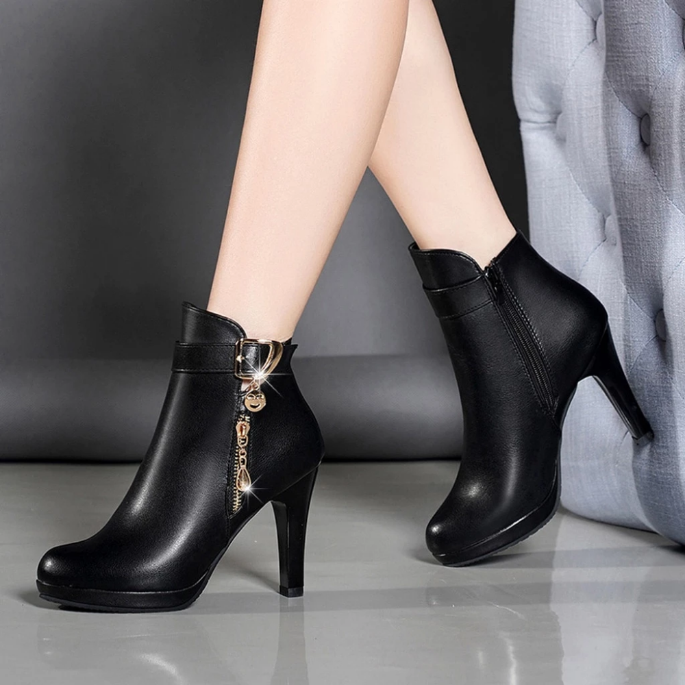 Women Ankle Boots Thin Heel Zipper Casual Leather Boots in