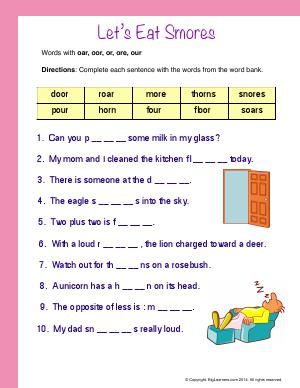 Worksheet | Let's Eat Smores ( Words With : oar, oor, or ...