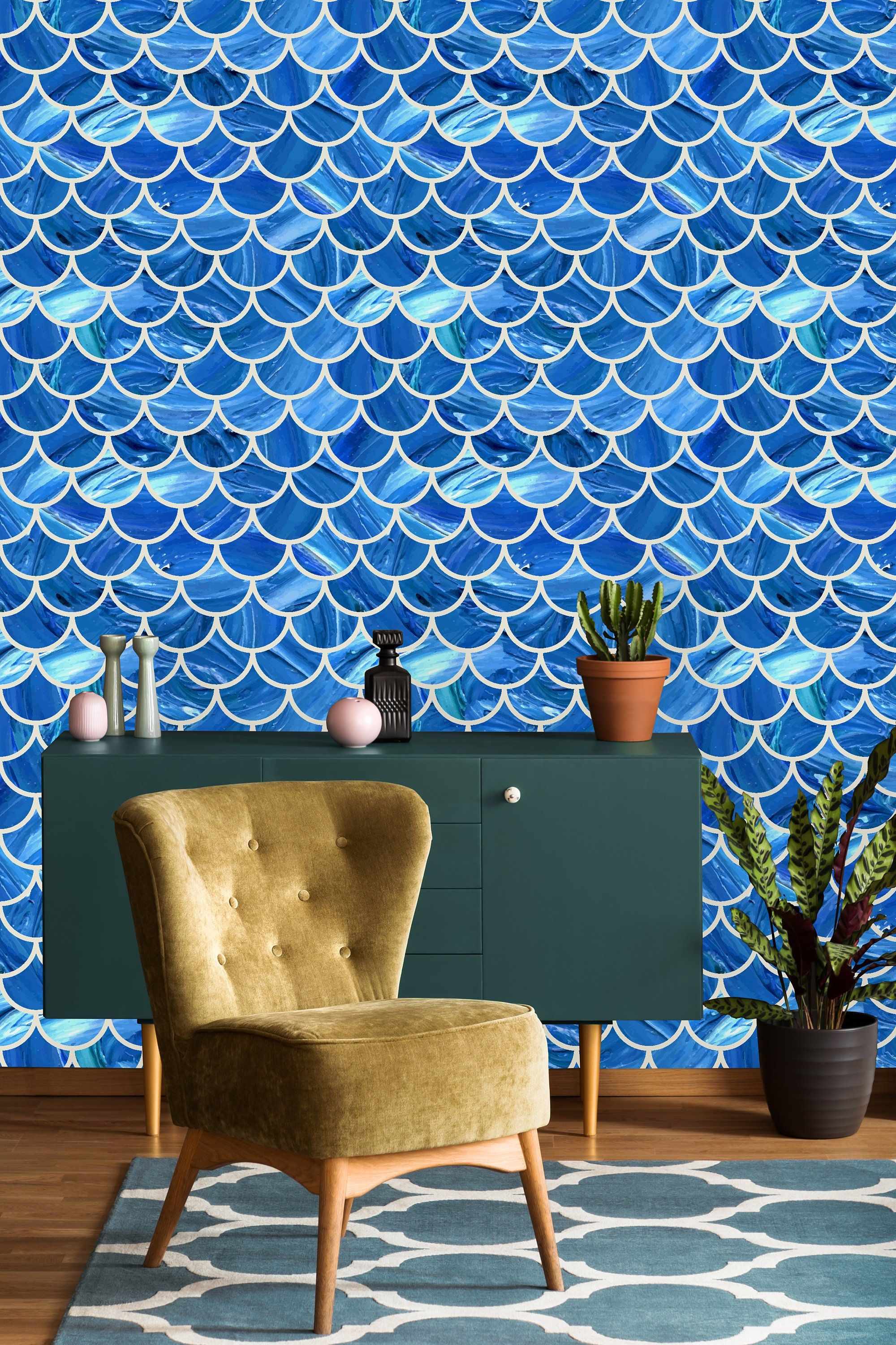 Blue Scalloped Marble Removable WallpaperPeel and Stick