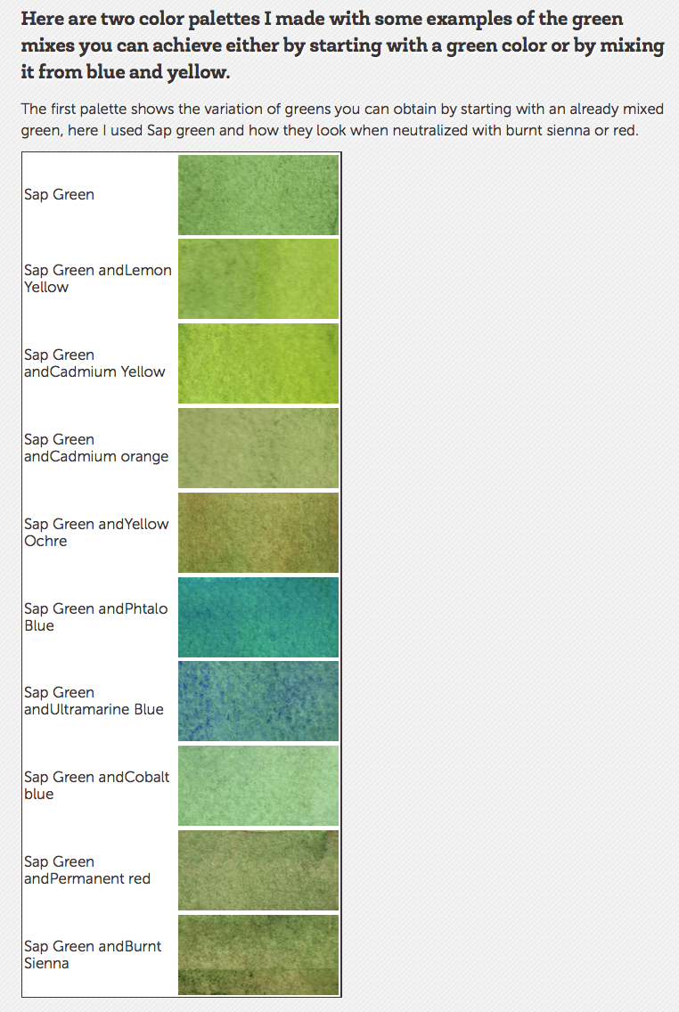 Mixing a Green Palette in Watercolors: Tips & Palettes | Watercolor ...