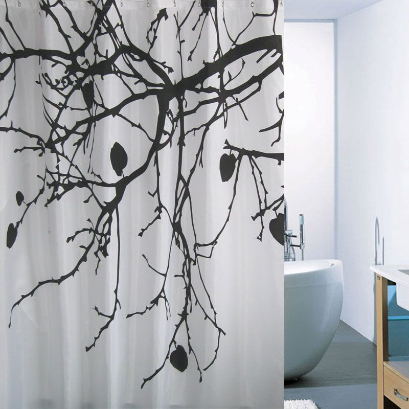 Chinese Style White Black Tree Shower Curtains Black Shower