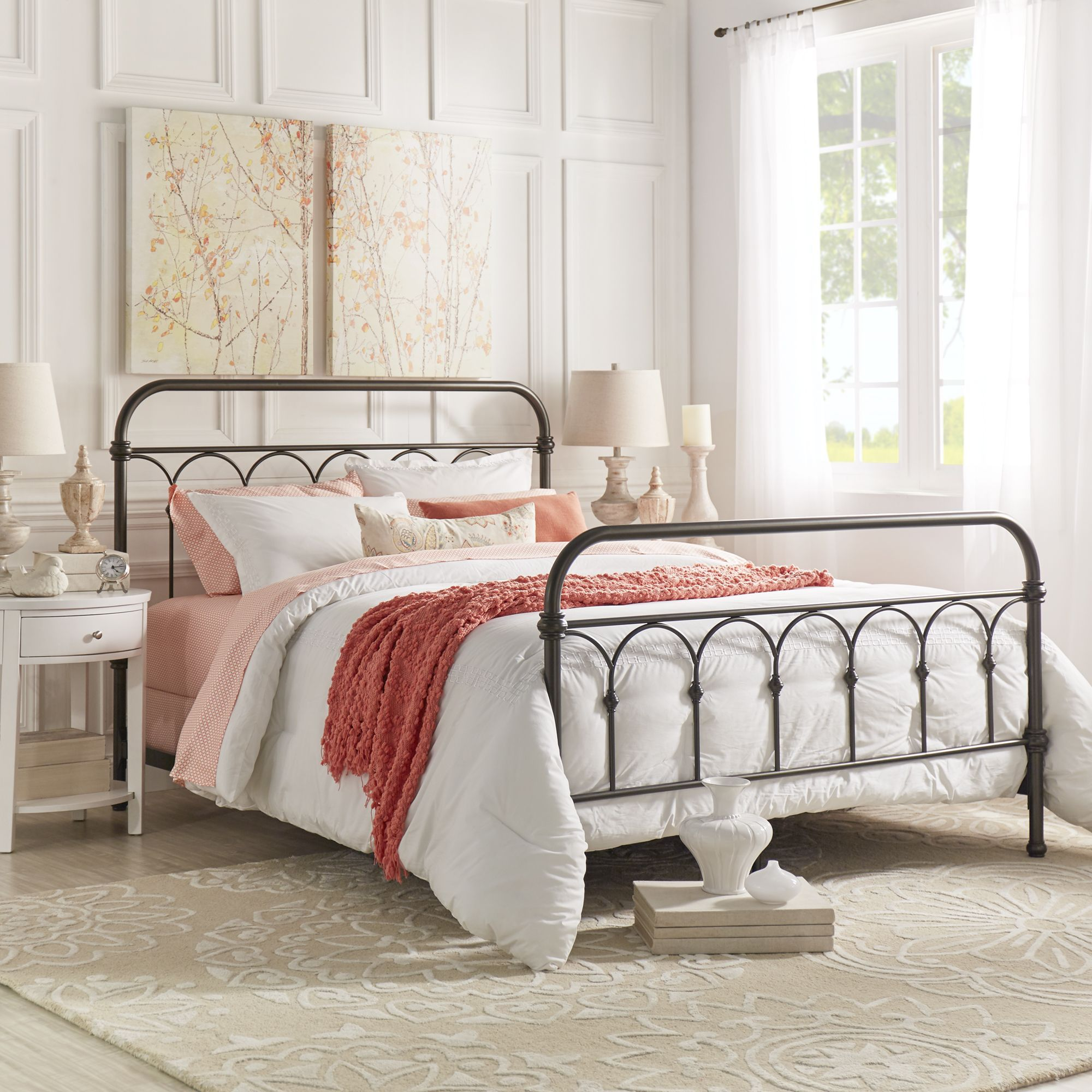 Tribecca Home Mercer Casted Knot Metal Bed (Antique White Finish ...