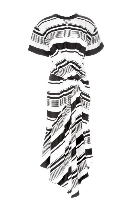 Shop Bold Stripe Silk Twill Twist Dress by Peter Som for Preorder on Moda Operandi