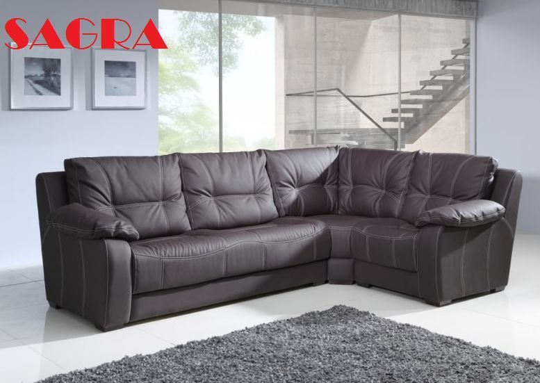 "New LEATHER Corner Sofa bed ""Dortmund"" GREY BROW BLACK WHITE 2 3"