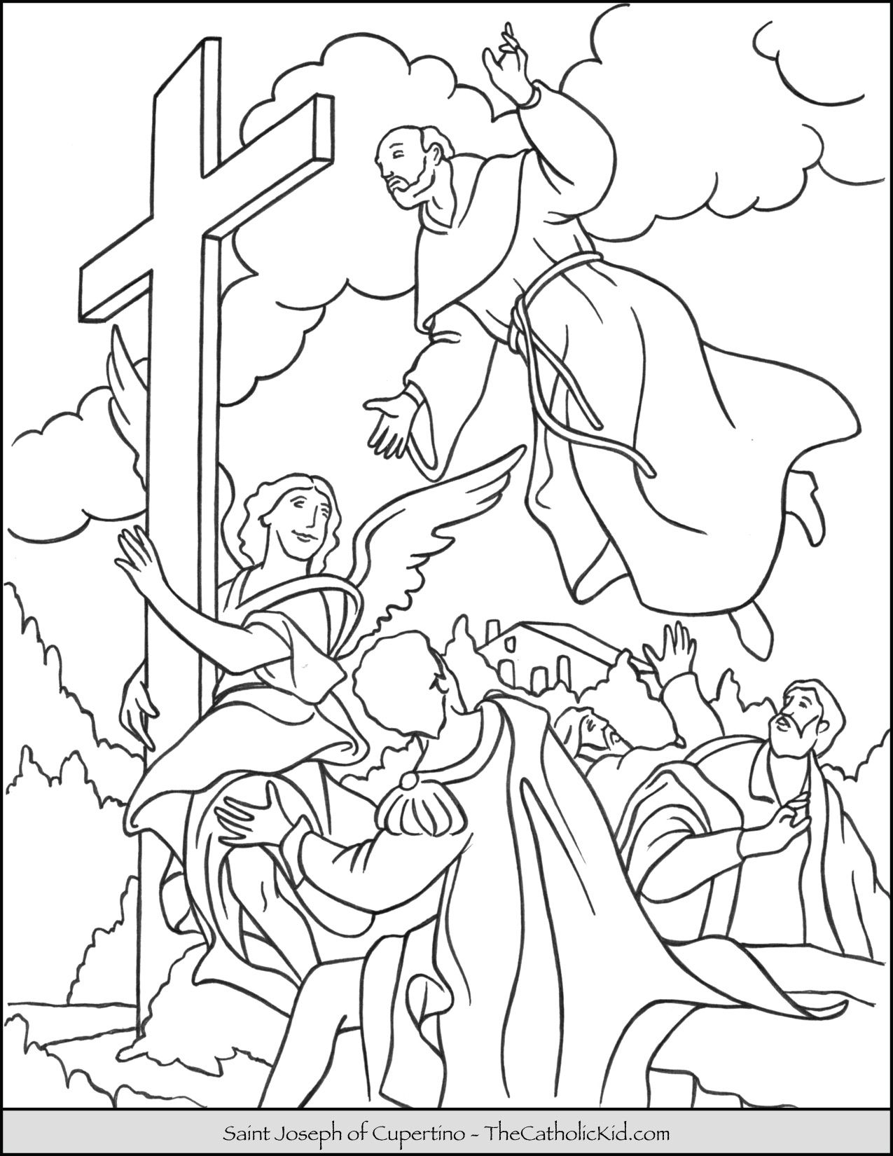 Saint Joseph Of Cupertino Coloring Page Thecatholickid Com St