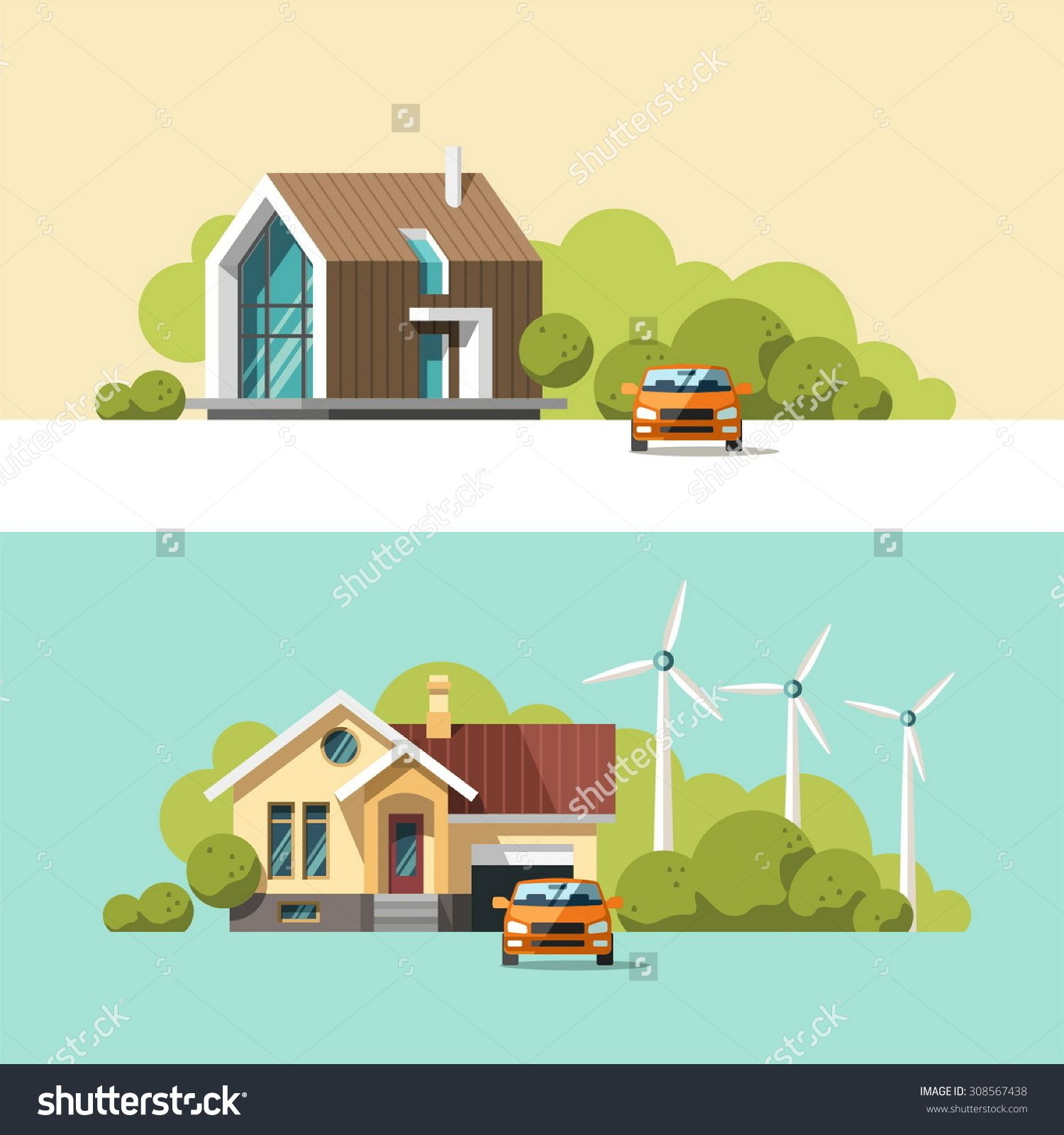 House design cartoon - Family Home Traditional And Modern House Flat Design Vector Concept Illustration