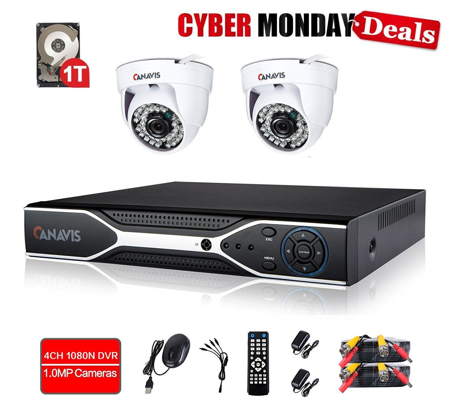 720P Wired Home Security Camera System 4 Channel DVR Video ...