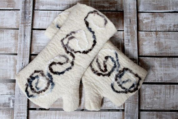 Fingerless Felt Gloves, Handmade Felt Gloves, Fingerless Gloves, Felt Gloves, Handmade, Gloves, White Gloves, Wool Gloves
