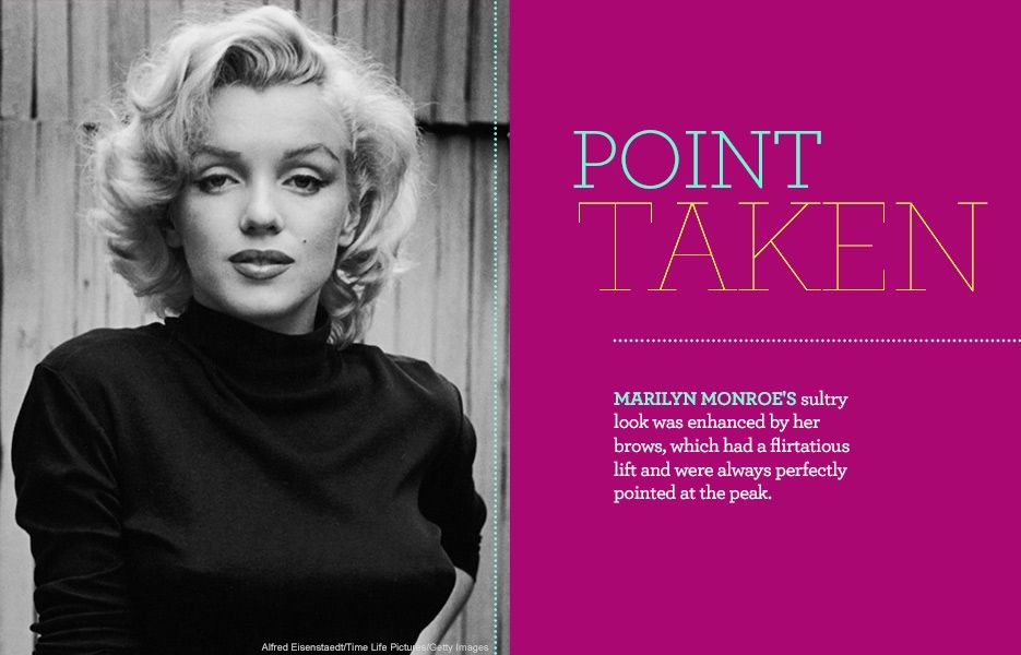 15 Most Unforgettable Celebrity Brows: Marilyn Monroe's sultry look was enhanced by her brows, which had a flirtatious lift and were always perfectly pointed at the peak.
