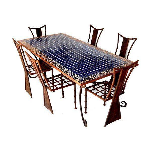Moroccan Dining Mosaic Table Featuring Polyvore Home Furniture Alluring Mosaic Dining Room Table Design Inspiration