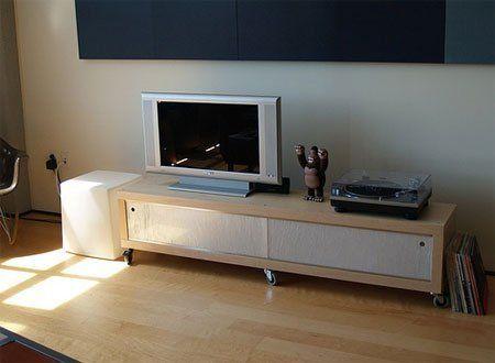 how to: turn an ikea lack shelf into a media console | ikea lack