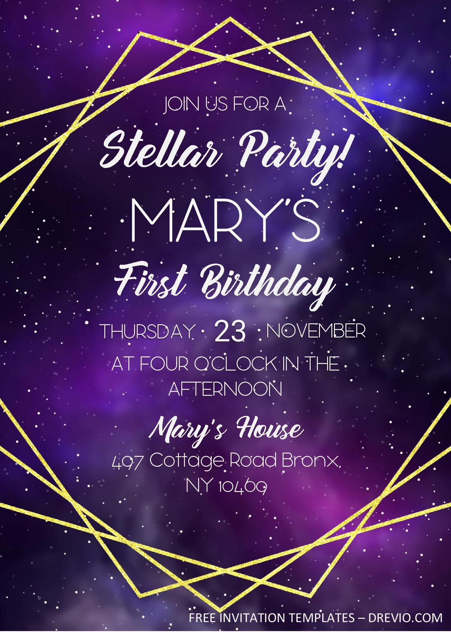 Galaxy Birthday Invitation Templates – Editable With MS Word