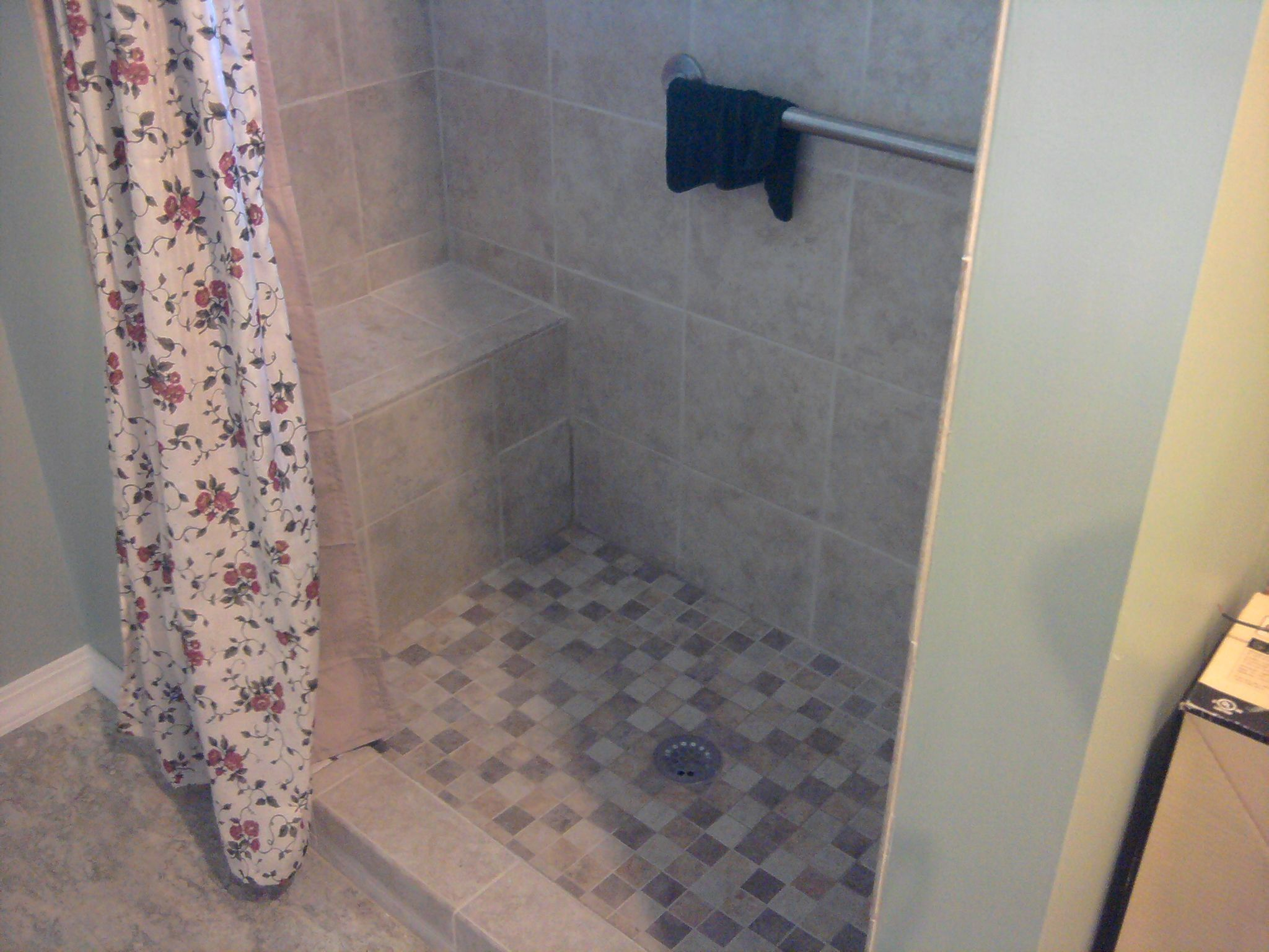 Tiled shower foot with tile shower and tile floor with for Bathroom remodel yakima