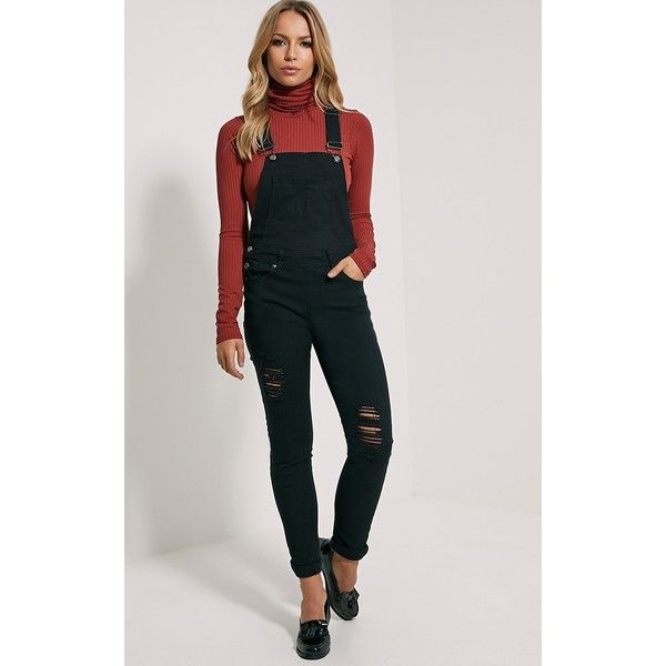 34416655f65 Ann Black Denim Dungarees-4 ($40) ❤ liked on Polyvore featuring jumpsuits,  black, cropped jumpsuit, denim dungaree and denim jumpsuit