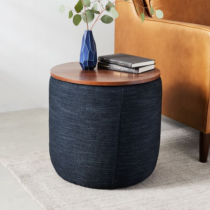 Upholstered Storage Base Ottoman Small In 2020 Ottoman Decor