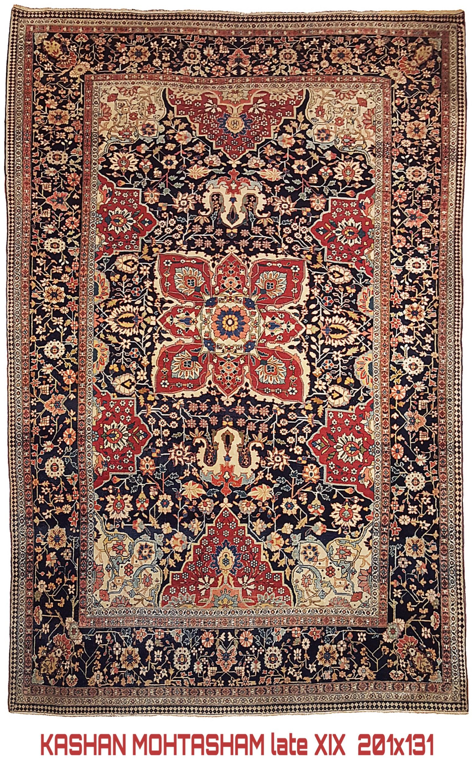 Mohtasham World Class Kashan Carpet 1890 ca. 201x134