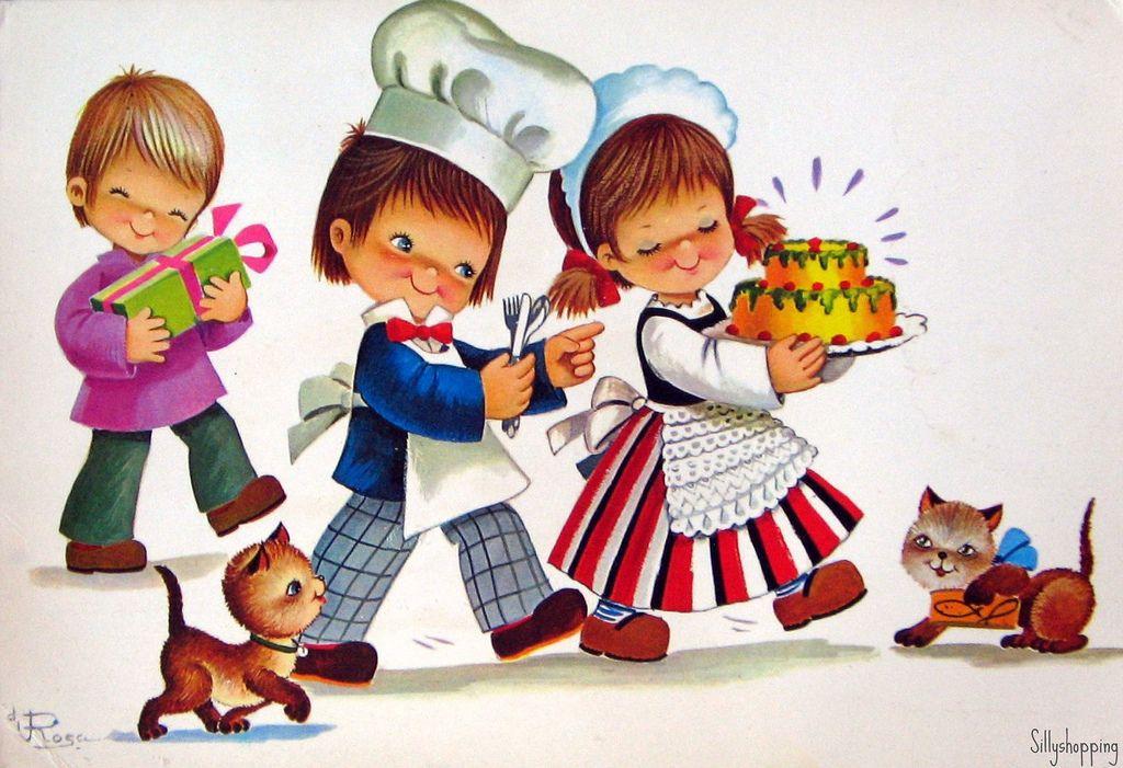 Vintage Big Eyed Kids Postcard   par Sillyshopping