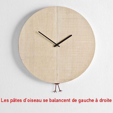 Horloge bois ronde, pendule pâtes coucou   Horloge Coucou ...