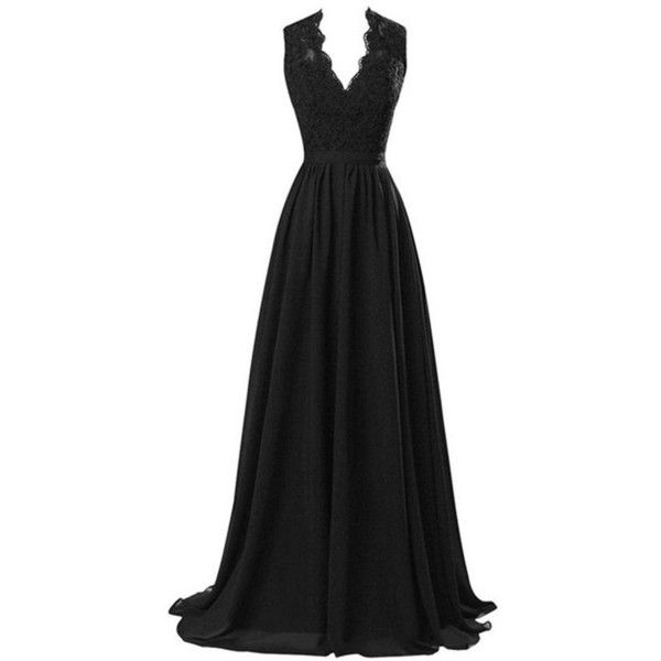 R&J Women's Modest V Neck Open Back Chiffon Long Evening Gown with... ($47) ❤ liked on Polyvore featuring dresses, gowns, long chiffon gown, long lace evening dress, chiffon gown, lace chiffon dress and long evening gowns