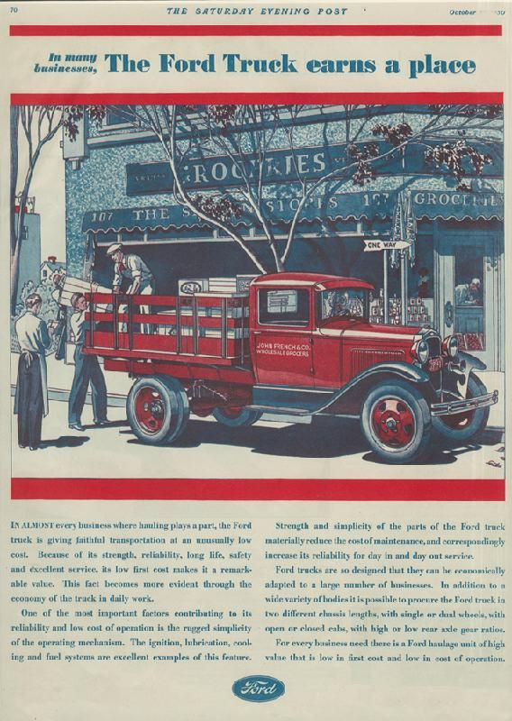 In many businesses, the Ford Truck earns a place, 1930