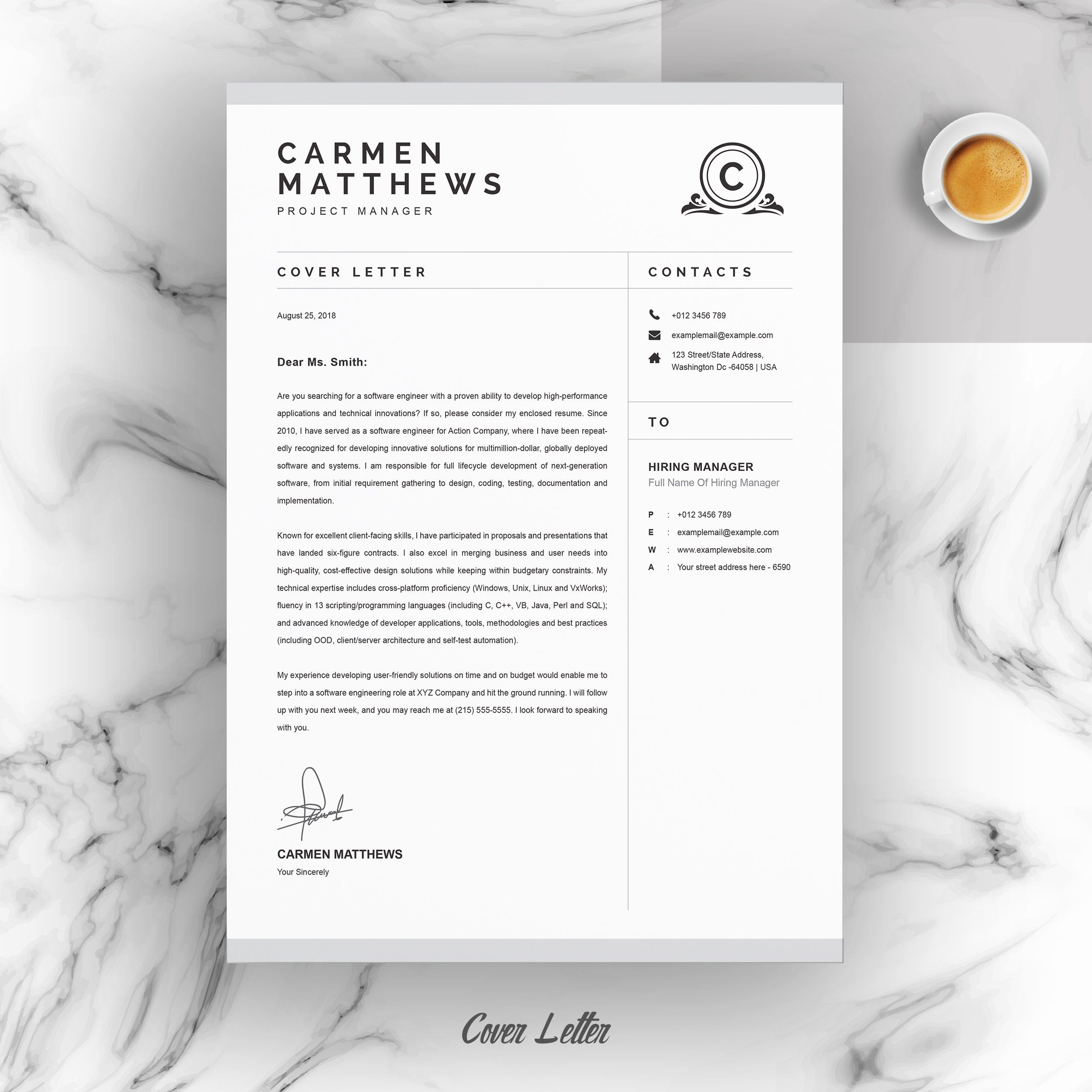 Cleanprofessional Resume Cv Template Clean Resume Cv Template Project Manager Cover Letter