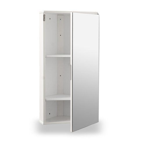 White Gloss Wall Hung Corner Bathroom Cabinet With Single Mirrored Door Amazon Co U Bathroom Storage Solutions Bathroom Wall Cabinets Modern Bathroom Cabinets