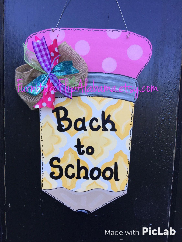 Pencil door hanger,Classroom sign,personalized teacher gift,Back to ...