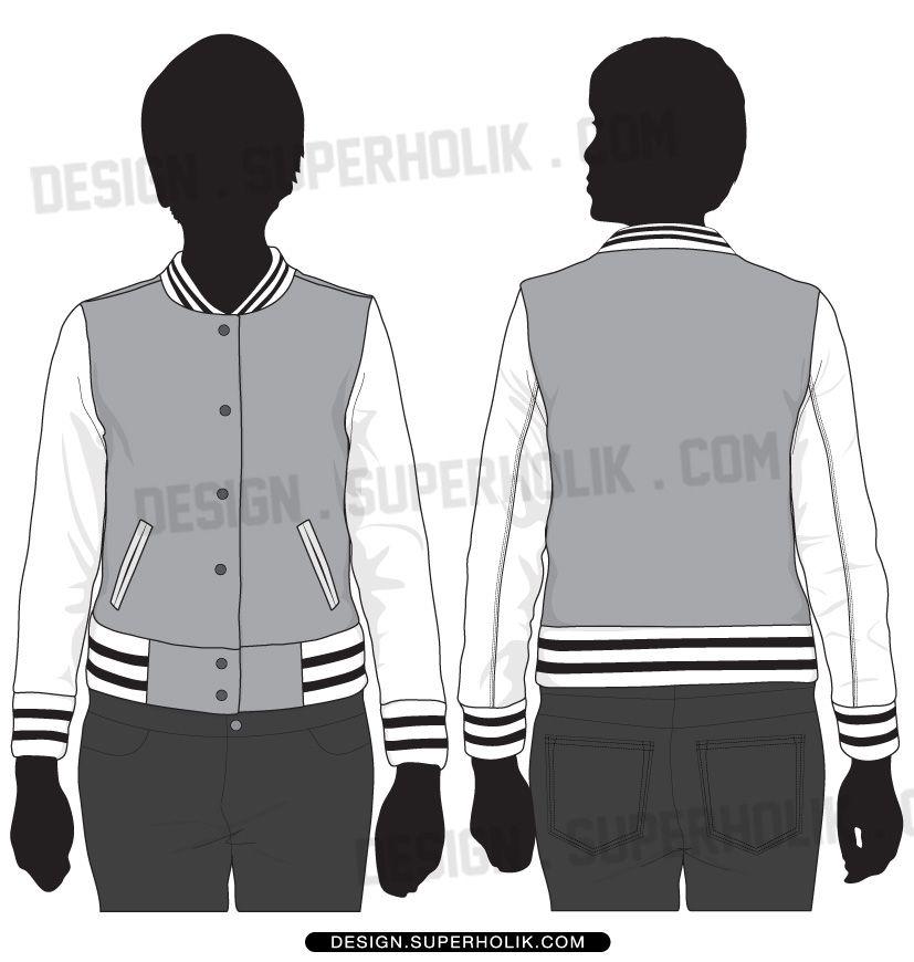 varsity jacket template fashion illustration design in 2018