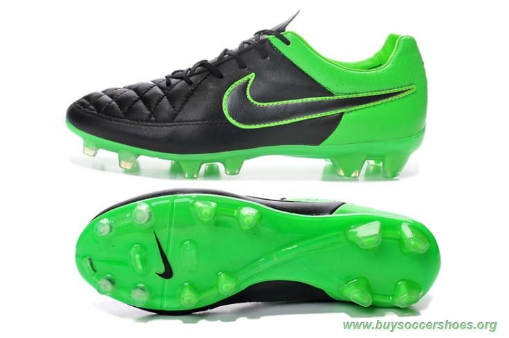 fb3ccc73c FG BLACK GREEN Nike Tiempo Legend V Mens Tennis Shoes