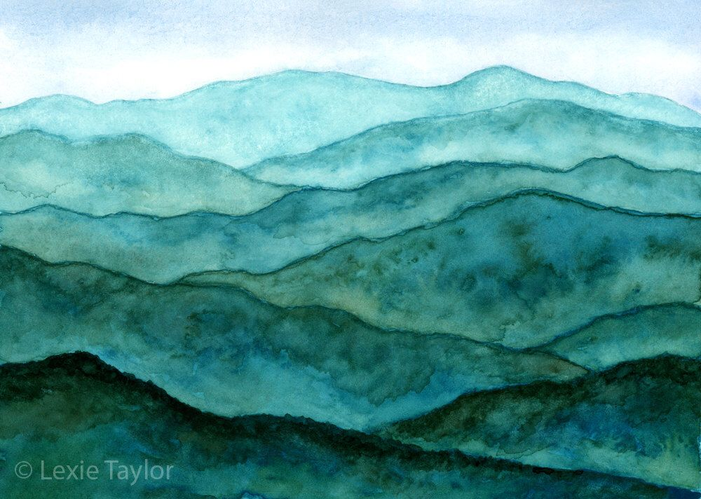 Blue ridge mountains watercolor giclee print by