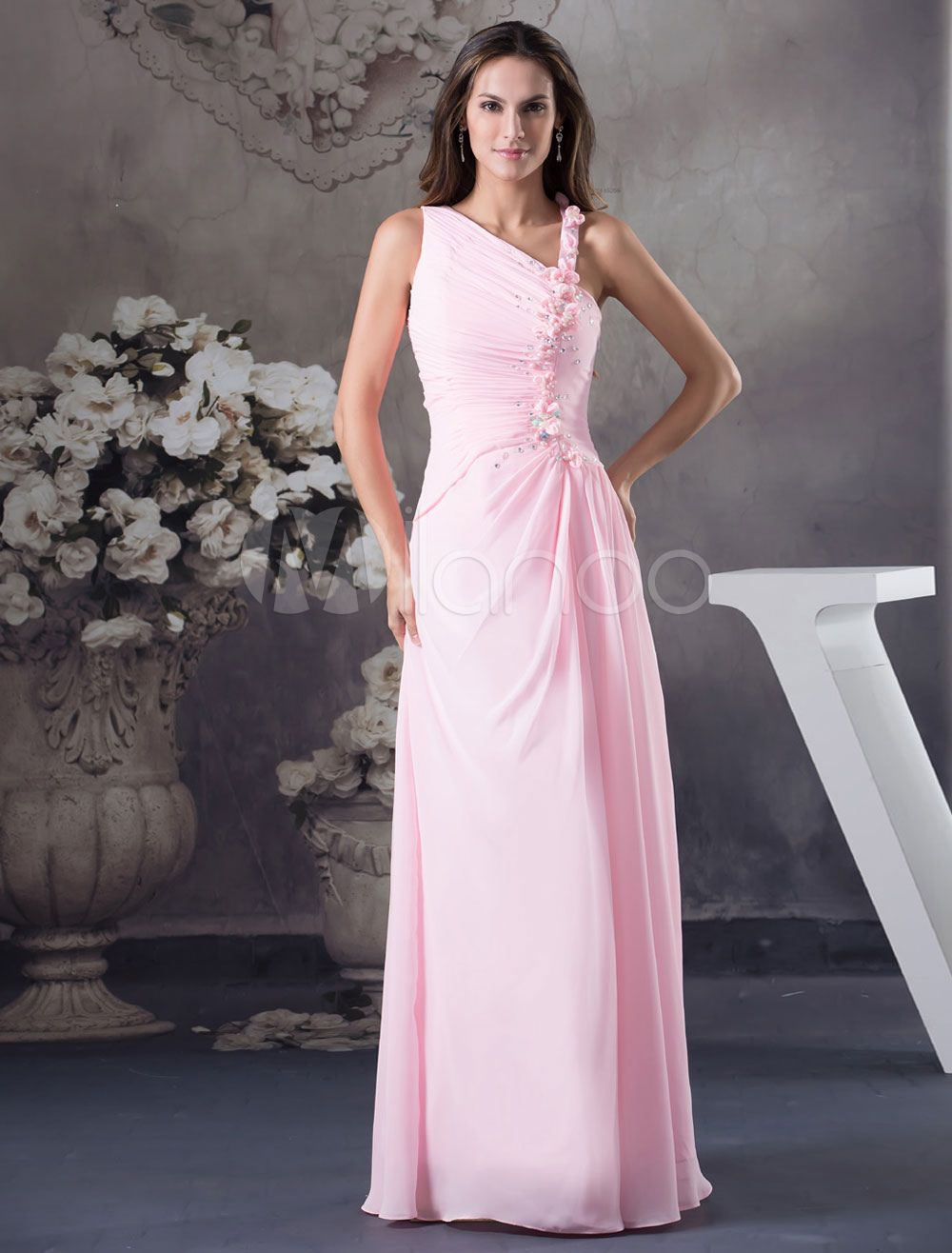 dd19759b4dd2 Beading Prom Dress Pleated One-Shoulder Floor-Length A-Line Chiffon  Graduation Dress
