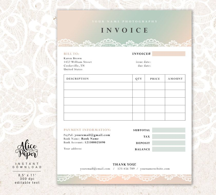Invoice Template Photography Invoice Receipt Template For Etsy Photography Invoice Invoice Template Photoshop Template