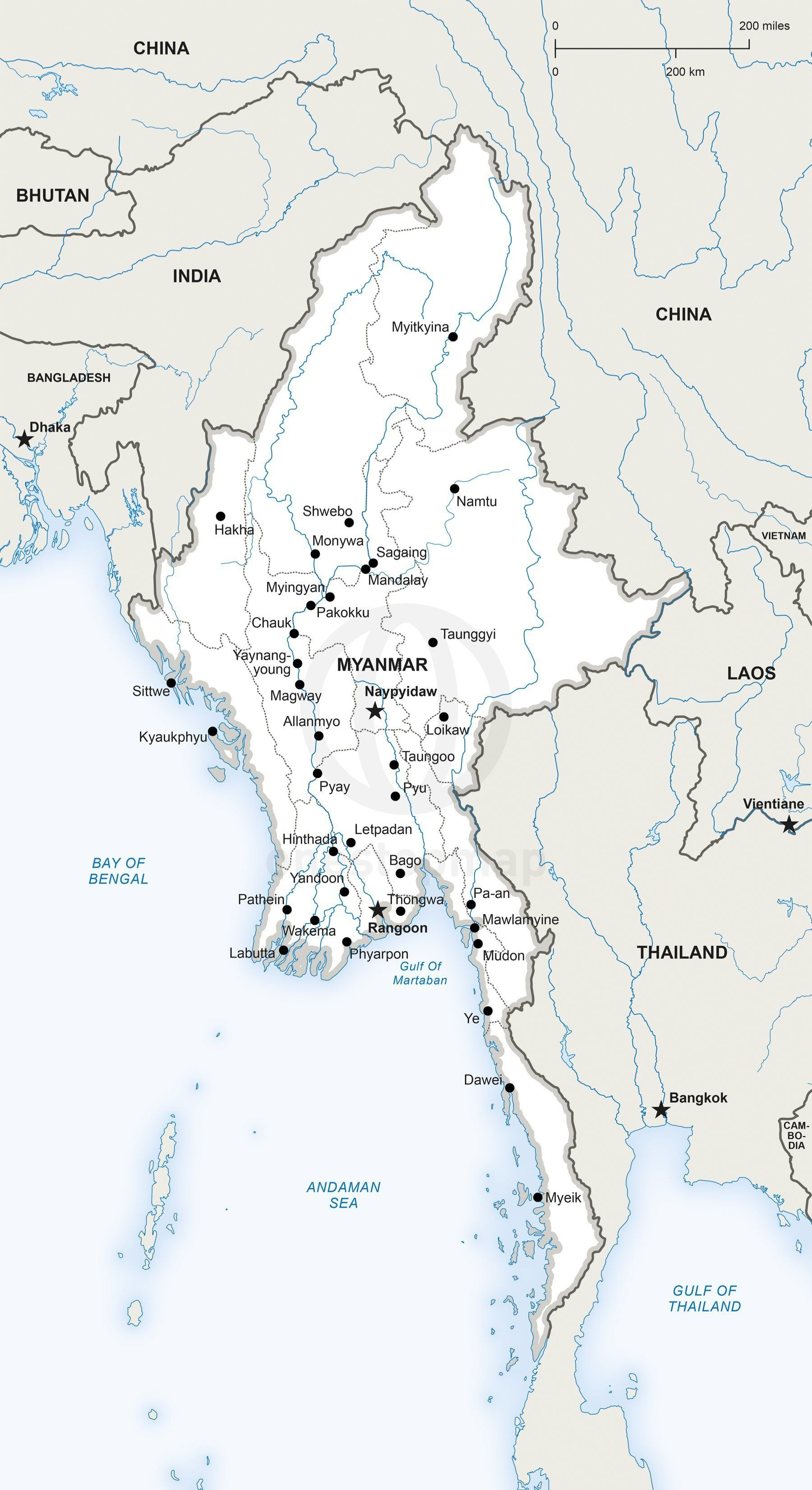 Vector map of myanmar political vector map of myanmar printable and editable adobe illustrator ai eps pdf gumiabroncs Gallery