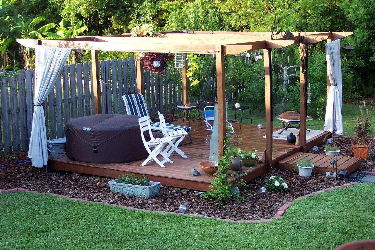 Floating deck floating deck floating deck and pergola with curtains landscaping and