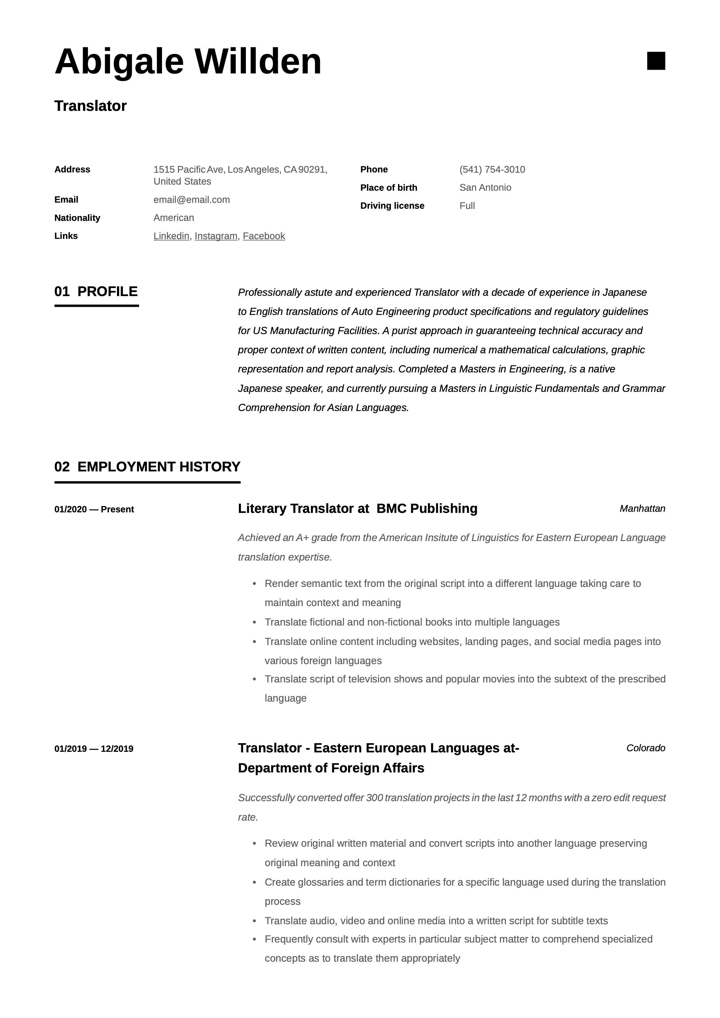 Traslator Resume Template Guided Writing Resume Writing Japanese To English