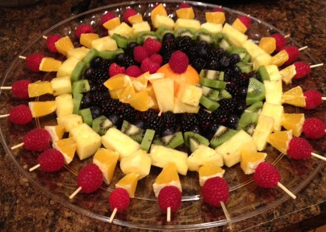 Rainbow Fruit Skewers I made for New Years Eve 2011 - big hit!