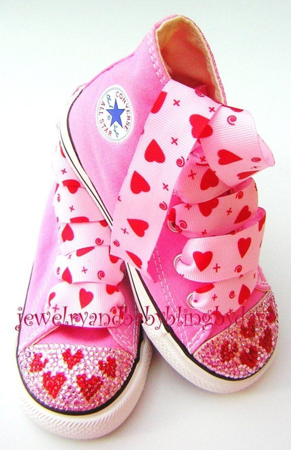be114729436701 Infant Toddler Pink RED HEARTS Crystal Hi-Top Bling Converse Sneakers Shoes