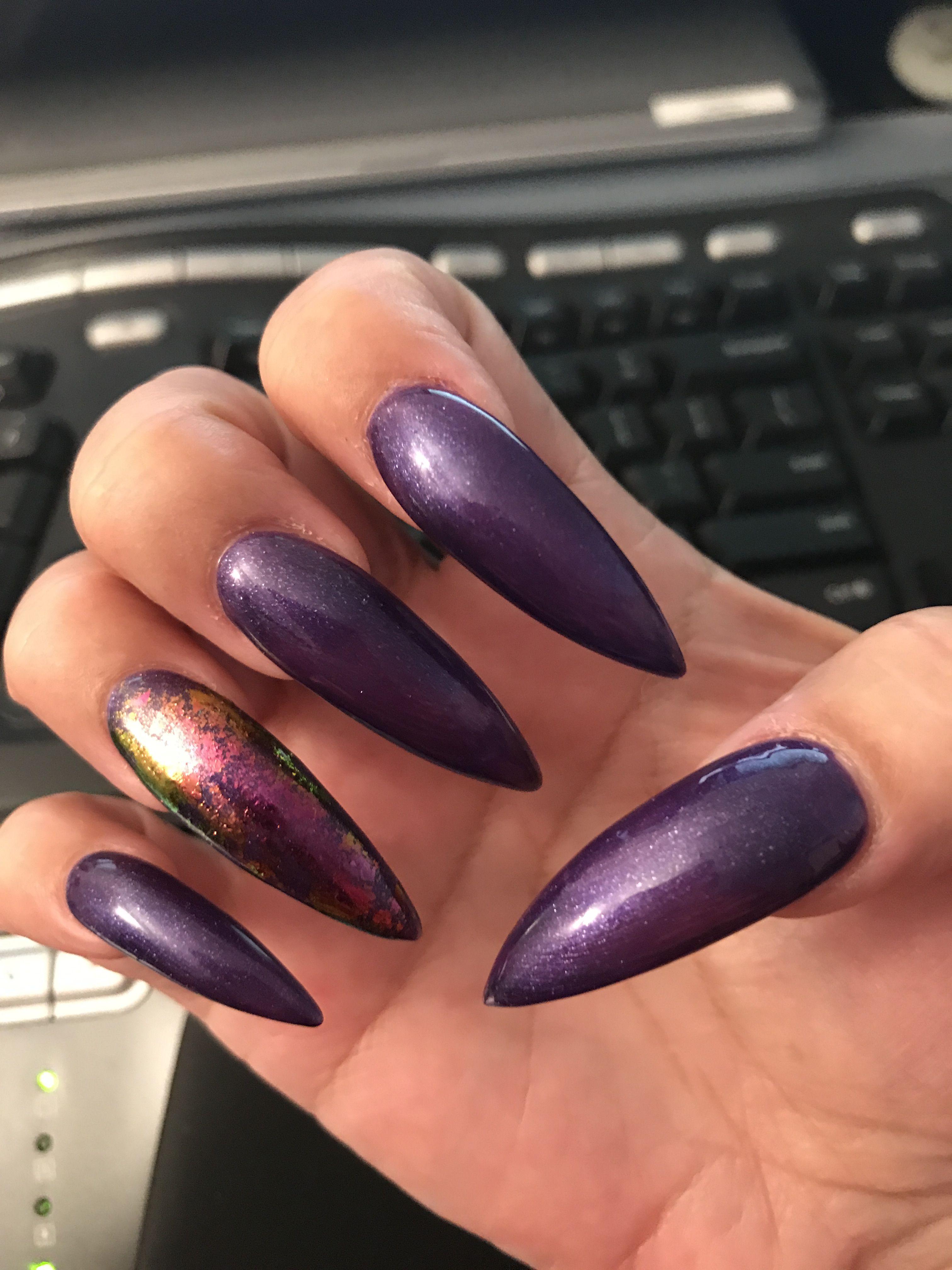 Dark Purple With Gold Flake Accent Stilettos Gold Flakes Nails Dark Purple