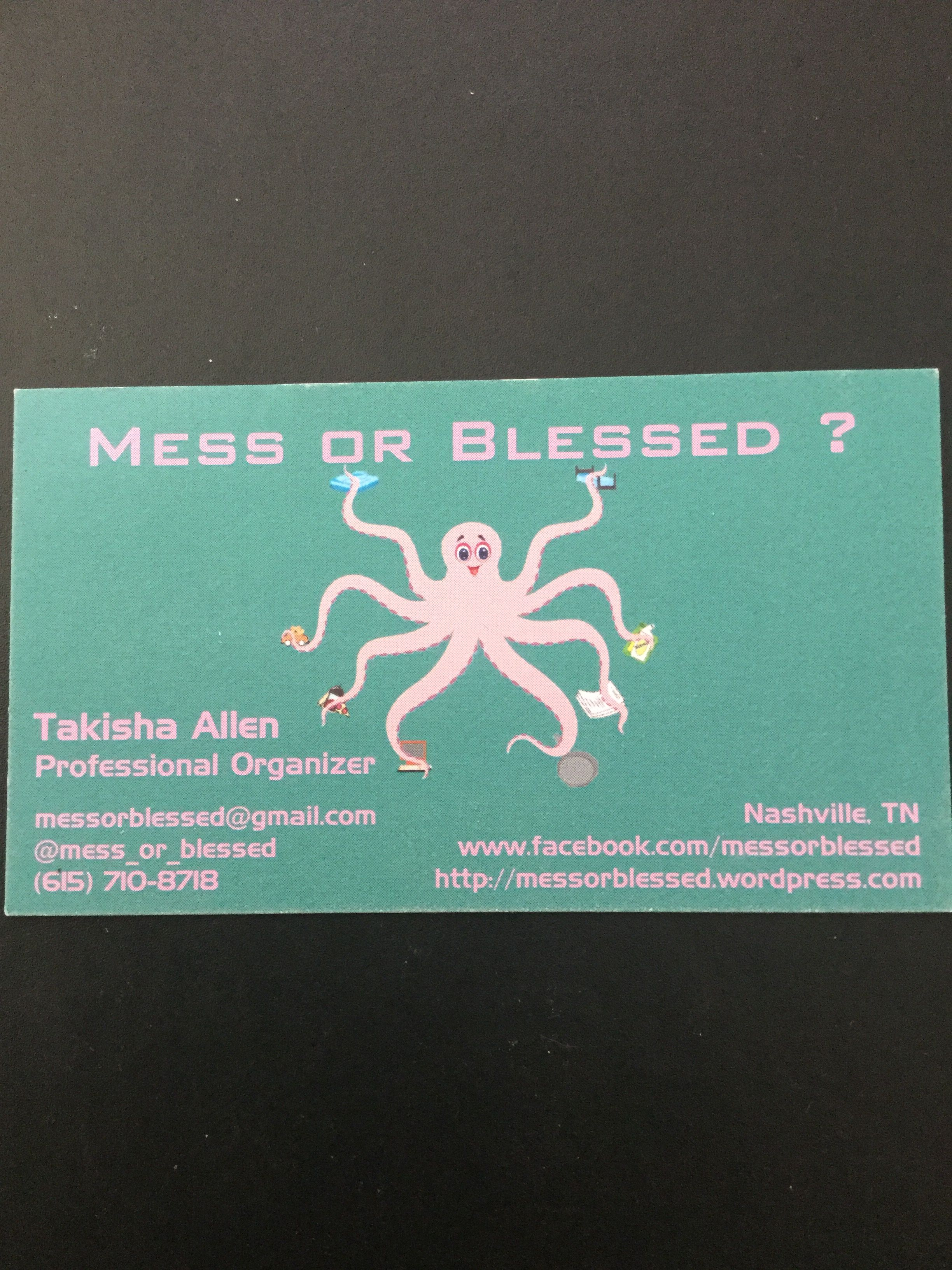 Mess or Blessed? business card. professional Organizer Nashville ...